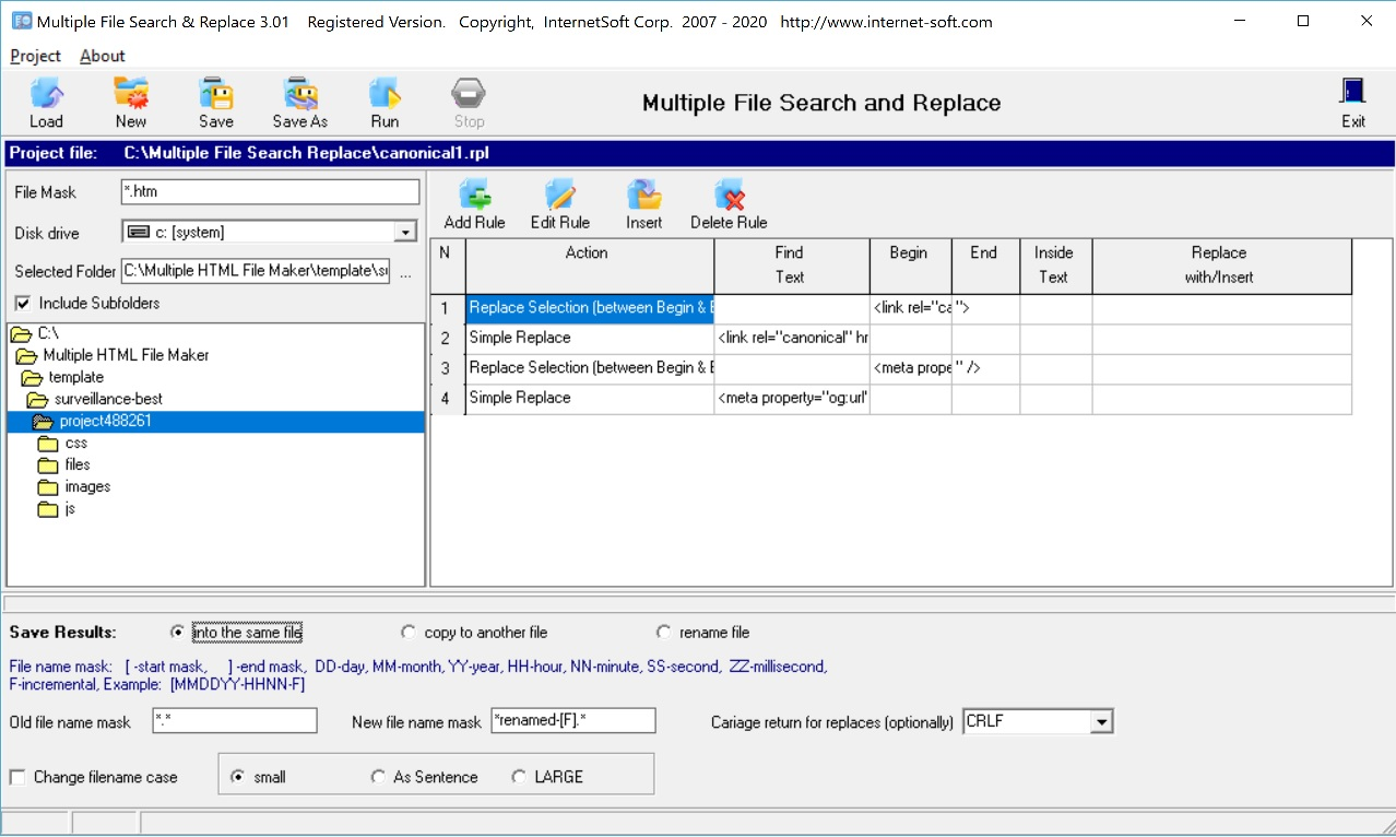 Search and replace text in multiple files